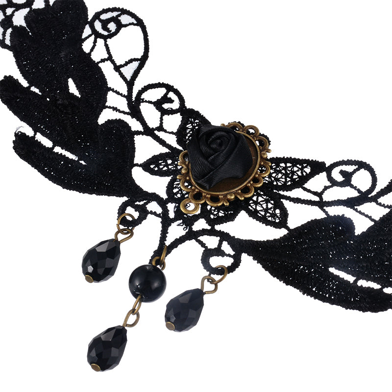 FUNIQUE New Women Choker Necklace Jewelry Statement Necklace Women Retro Gothic Punk Collar Black Lace Tassels Decor