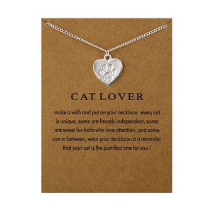 Fashion Jewelry Reminders Cat Lover Friendship Heart Charm Necklace For Women