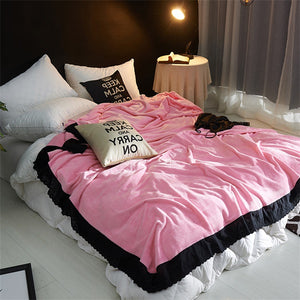 Fashion Lace Sexy Solid Black Soft Faux Mink Flannel Fleece Plush Blanket Throws Twin/Full/Queen/King Size Air/Sofa/Bed Cover