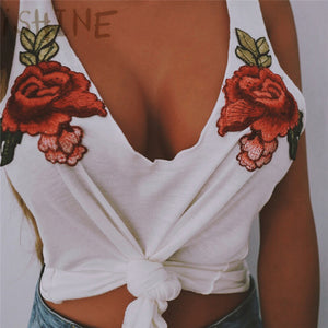 Fashion Sexy Black Tank Top Women cotton Floral Embroidery vest Deep V Neck Sleeveless Tops summer Beachwear Casual Tops