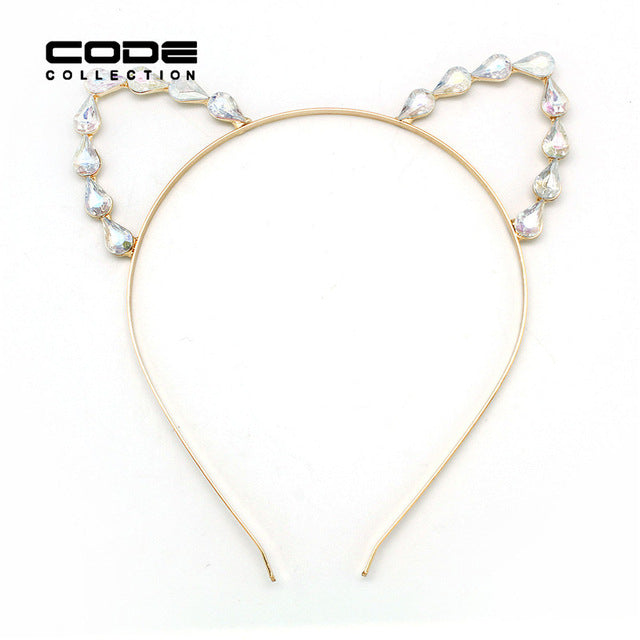 Fashion Sweet Lovely Women  Girl Hair Hoops Cat Ear Hairband Crown Tiara headband Rhinestone Princess Hollow Hair Jewelry