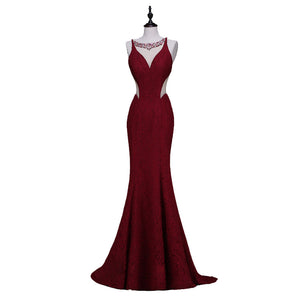 Finove Wine Red Long Elegant Memaid Evening Dresses 2017 Sexy Party Vestidos De Festa Beads Tulle Lace Black Prom Dresses