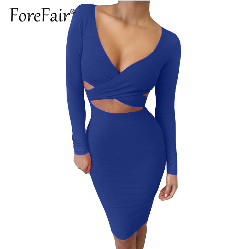 Forefair Sexy Criss Cross Bodycon Dress Women Spring Long Sleeve Night Club Wear Bandage Party Dresses Black Red Blue Vestido