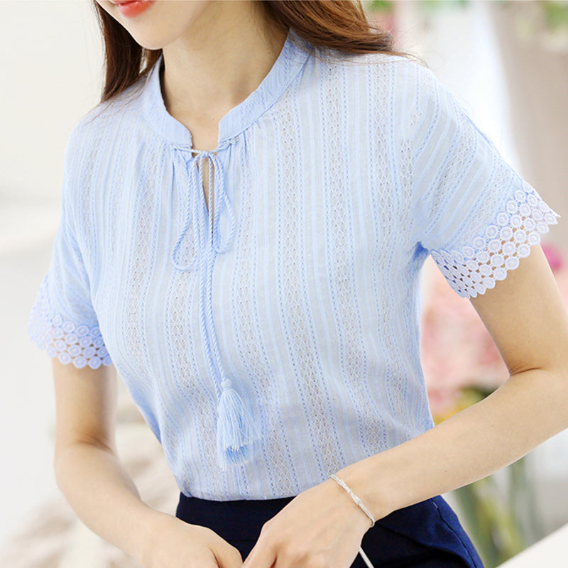 Foxmertor 100% Cotton Shirt Short Sleeve 2017 Summer Women Blouses Tops Solid Casual Female Clothing White Shirts OL Blusas E225