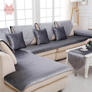 Free shipping grey camel red black velvet sofa cover flannel plush slipcovers cheap sectional couch covers fundas de sofa SP2519
