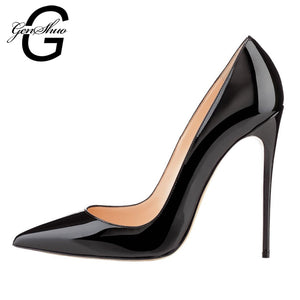 GENSHUO Shoes Woman 12CM High Heels Pumps Red High Heels Women Shoes High Heels Wedding Shoes Pumps Black Nude Shoes Heels