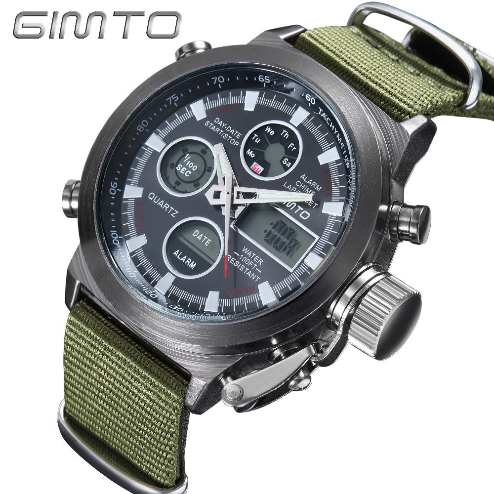GIMTO Military Quartz Sport Watches For Men Analog Digital Nylon Watch Men Clock LED  Men's Watches Waterproof Wristwatch Mens