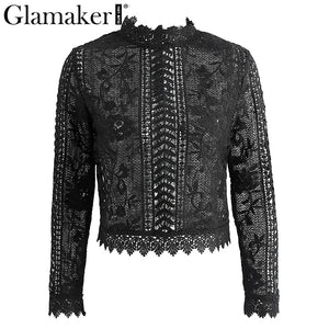 Glamaker sexy white lace blouse shirt Women tops elegant hollow out blouse Summer tops female blouse  long sleeve blusas