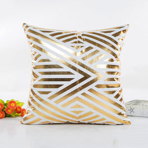 Gold Bronzing Pillow Cases Luxury Geometric Pineapple Cotton Pillow Case White Bedroom Home Office Decorative Throw Pillowcases