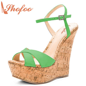 cfd5385f79e Green Wedge Sandals Spuerstar Shoes Top Quality Summer Platform 15cm High  Heels Clogs Female Cork Sandals