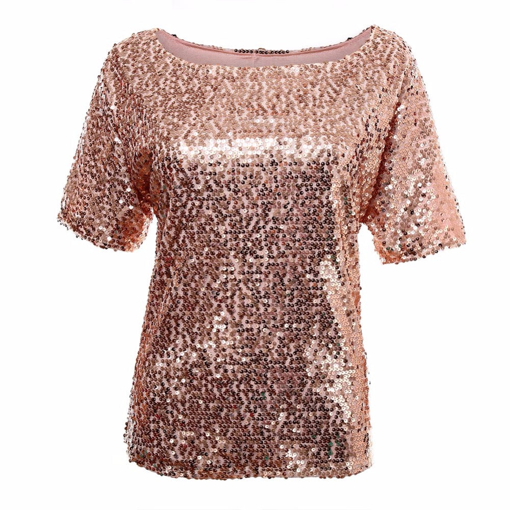 HOT New 2017 Fashion Women Sexy Loose Off Shoulder Sequin Glitter Blouses Summer Casual Shirts Vintage Streetwear Party Tops