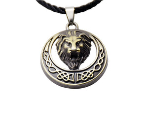 Hiphop style men necklaces jewelry bronze round alloy Africa Lion head pendant necklace man drop shipping