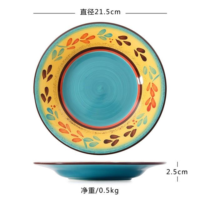 Hot Exotic Hand-painted Moroccan Italy Bohemian Style Dinner Plate 8.5 Inch Colorful Salad Plates Dining Decoration Plate Gifts