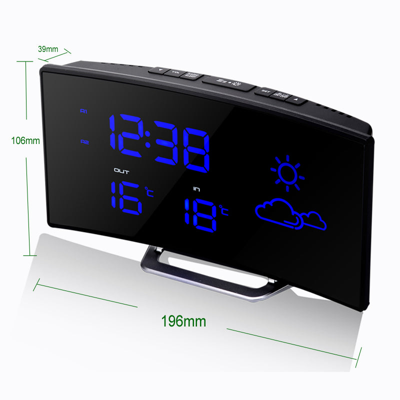 Hot Fashion LED Arc Alarm Clock Electronic FM Radio Personality Luminous Timer To Sleep Charging Desktop Display Watch Gadgets