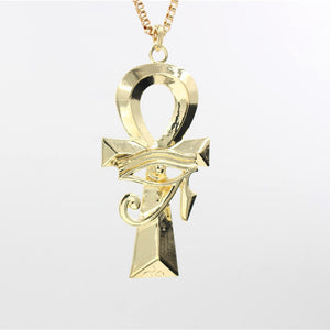 Hot Selling Single Delicacy Egyptian Engraving Ankh Cross Pendant Chain Necklace Gold Color Punk Cross Pendant Necklace Girl