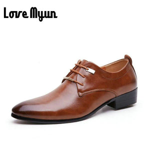 Hot sell mens leather shoes men's dress shoes British Style lace up Pointed toe low top flats 2 colors big size 37-46 AA-04