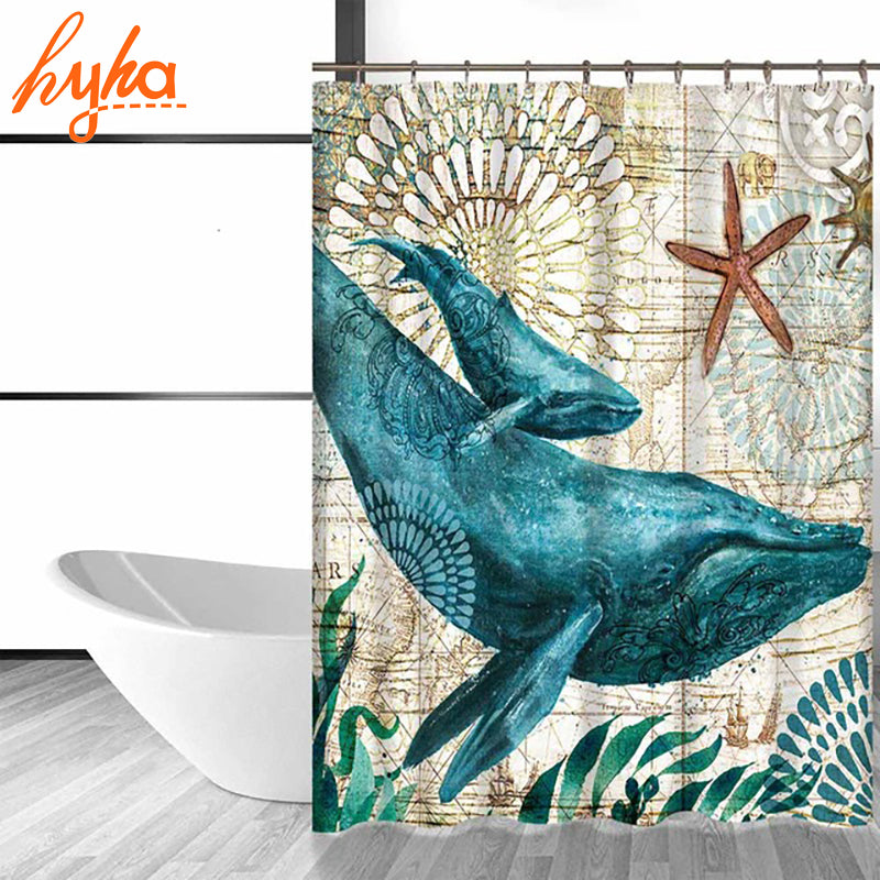 Hyha Marine Polyester Waterproof Shower Curtain Seahorse Turtle 12pc Hooks Mildew Resistant Bath Curtain Home Bathroom Decor