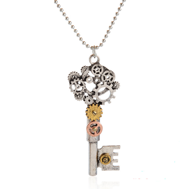 ISINYEE Fashion Crystal Key Heart Anchor Pendant Beaded Chain Steampunk Necklace Vintage Steam Punk Costume Jewelry For Women