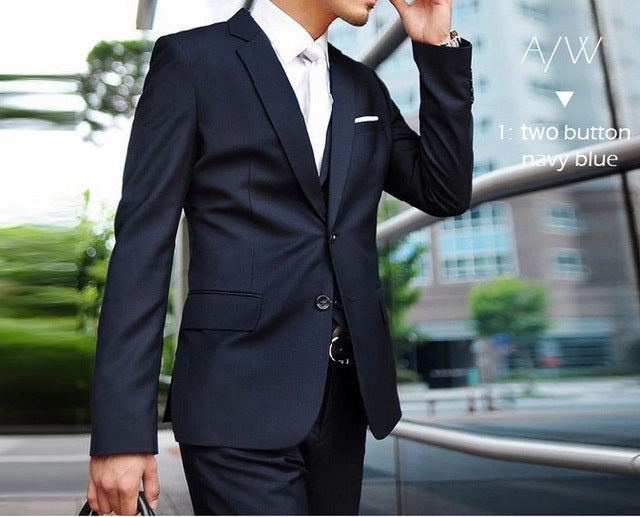 (Jacket+Pant+Tie) Men Wedding Suit Sets Tuxedo Formal Fashion Slim Fit Business Dress Suits Blazer Brand Party Masculino Suits