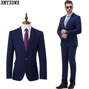(Jacket+pant+Tie) 2017 Men's Black Suits Business Blazer Casual Suit Set Wedding Dress Men Suit Groom Tuxedos Plus Size 4XL 5XL