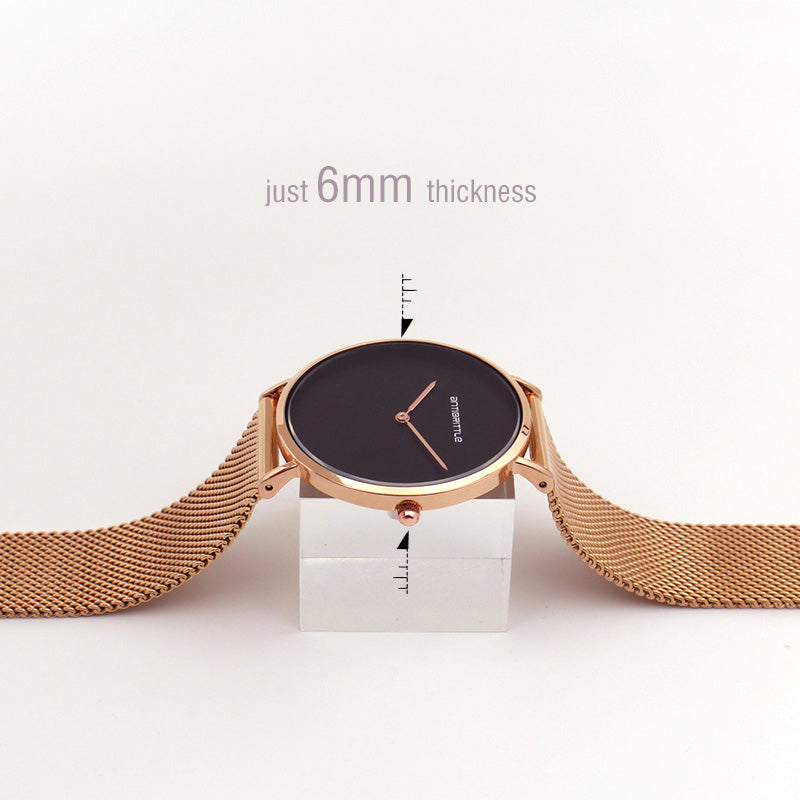 Japan Quartz Luxury Black Simple Minimalist Watch Women Rose Gold Thin Mesh Stainless Steel Magnet Band Waterproof Antibrittle
