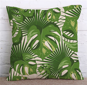 KYYZROZZZ Tropical Plants Green Leaves Monstera Cushion Covers Hibiscus Flower Cushion Cover Decorative Beige Linen Pillow Case