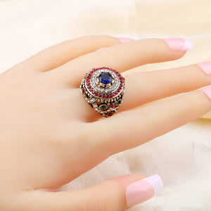 Kinel New Arrival Dubai Gold Antique Ring For Women Bohemian Blue Resin Inlay Crystal Punk King Ring Vintage Jewelry
