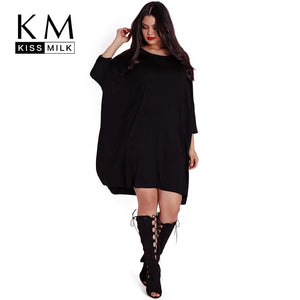 Kissmilk 2017 Big Size New Fashion Women Clothing Casual Brief Solid O-Neck Loose Summer Dress Plus Size Dress 4XL 5XL 6XL