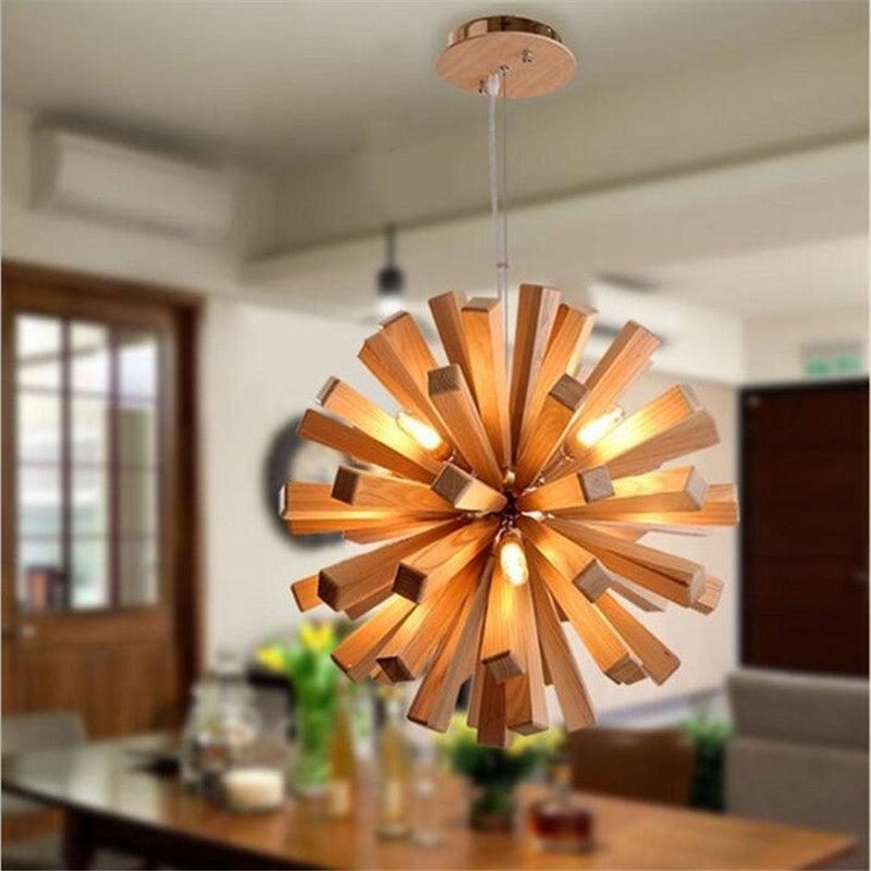 L54-Simple fashion LED dandelion wood chandelier living room restaurant  bedroom real wood firework chandeliers,Support drop ship