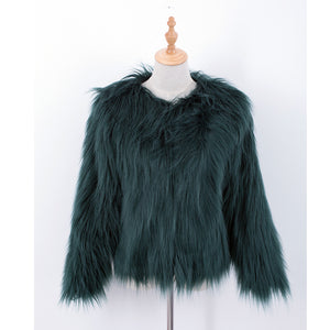 LALA IKAI Women Winter Black Fur Coat Long Sleeve Faux Fur Outerwear Lady Short Style Fur Jacket Brand 8 Colors Coats SWQ0080-5