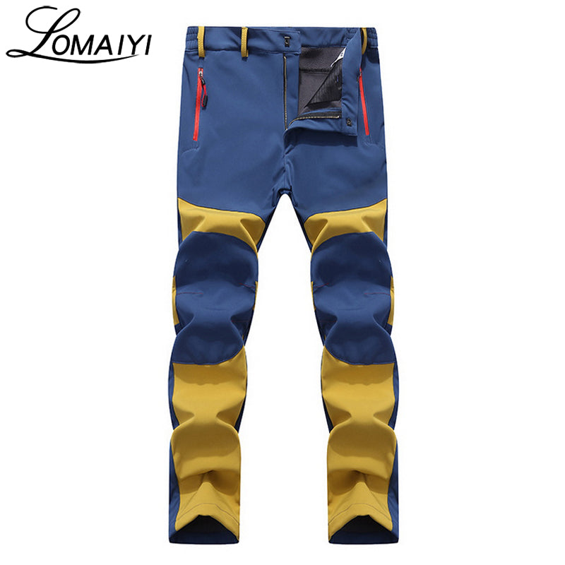 LOMAIYI NEW Men's Winter Casual Pants Men Fleece Lining Sweatpants Breathable Warm Mens Trousers Off White Zipper Pants,AM201