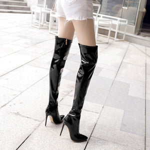 Lasyarrow Women s Thigh High Stiletto Boots Sexy Over the Knee Boots Sexy  Women Boots Red Black 092447f8000a