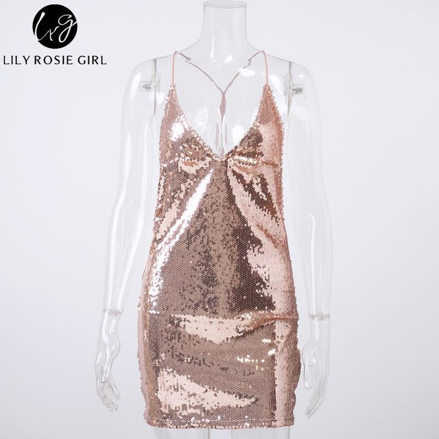 Lily Rosie Girl Deep V Neck Sexy Gold Sequin Dress Women Backless Strap Off Shoulder Autumn Evening Party Mini Dresses Vestidos