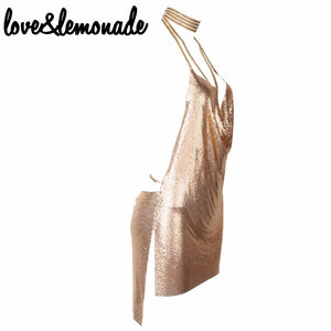 Love&Lemonade Sexy Halter Metal  Party Dress Gold TB 9799