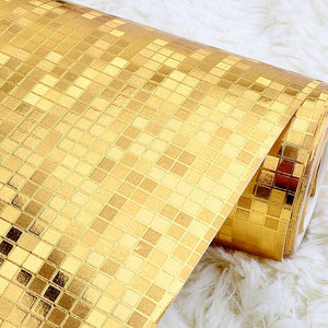 Luxury Glitter Mosaic Wallpaper Background Wall Wallpaper Gold Foil Wallpaper Silver Ceiling Wall covering Papel De Parede 3D