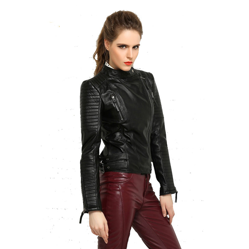 007ce22a479 MAPLESTEED Genuine Leather Jacket Women Leather Jacket Sheepskin Black Soft  Slim Fit Punk Bomber Female Leather