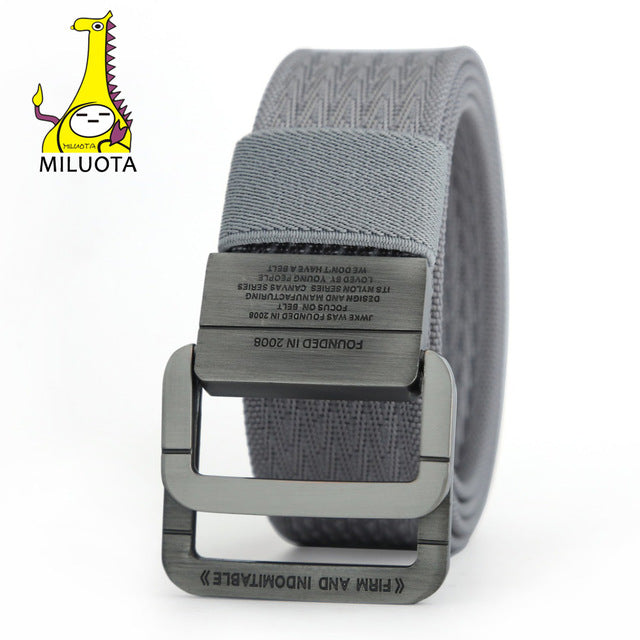 [MILUOTA] 2016 Military Equipment Tactical Belt Man Double Ring Buckle Thicken Canvas Belts for Men Waistband MU035