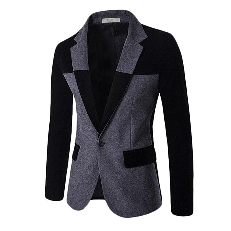 MOGU 2017 Blazers for Men Wool Blends Contrast Color Men Blazer Slim Fit Big Size Casual Mens Blazer Jacket terno masculion