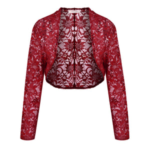 Meaneor Brand Knit Bolero Shrug Women Casual 3/4 Sleeve Lace Floral Light Crop Open Stitch Cardigan Short All-match Shawl Wrap
