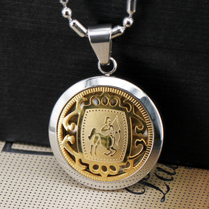 "Men's Jewelry Stainless Steel Gold Inlaid Zodiac Suspension Neckalce Astrology Symbol Medal & 22"" Cuban Chain Horoscope Tags"