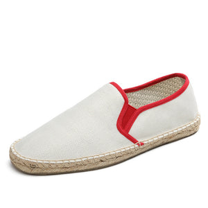 Mens Hemp Flats Shoes Soft Breathable Comfortable Espadrilles Male Casual Shoes Loafers syt12