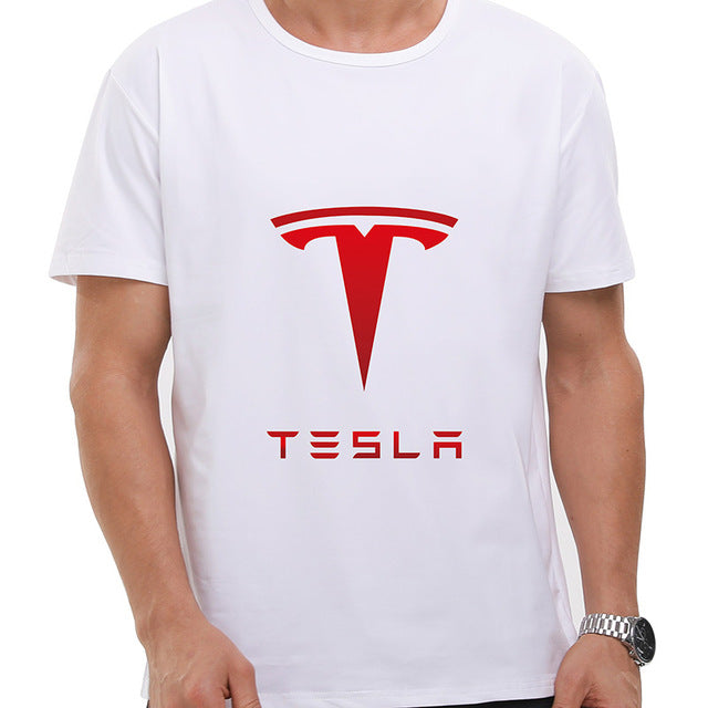 Mens Letter Printed Tesla Motors TShirts New Cool Tesla Tees Short Sleeve Round Neck Ringer Male Tees Casual Boy T-shirt Tops
