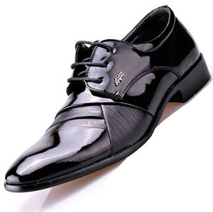 Monstceler British Style Fashion Patent Leather Men Dress Shoes Pointed Toe Mens Work Wedding Shoes For Men Shoes 1859