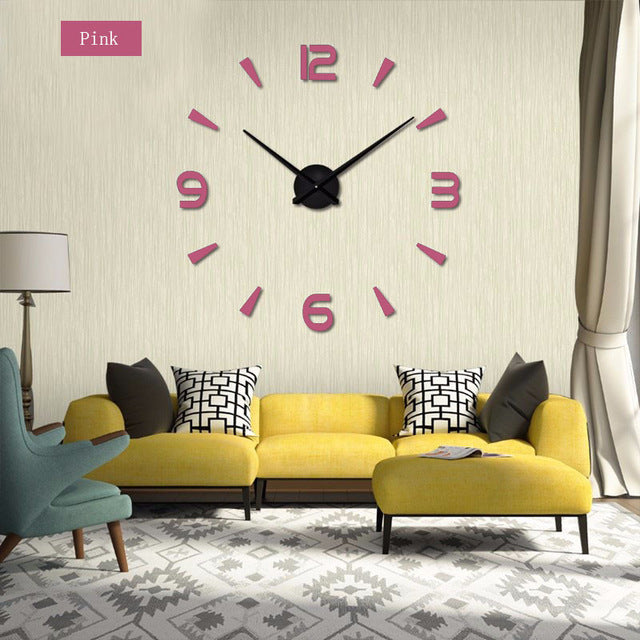 Muhsein 2017 New  Wall Clock Acrylic Metal Mirror  Big Personalized decoration  Wall Watches 3D large wall Clocks Free shipping