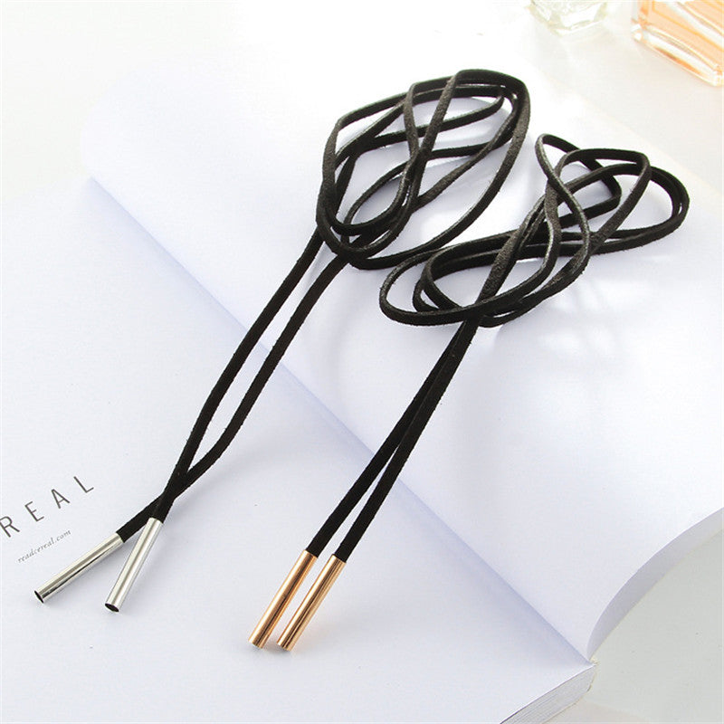 NK824 Hot Fashion Wrap Collares Bijoux Circle Tube Long Black Velvet Chokers Necklace Punk For Women Gothic Jewelry Girl Collar