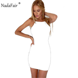 Nadafair 95% Cotton Spaghetti Strap Black Sexy Club Backless Bodycon Dress Women Summer Beach Casual Mini Dress