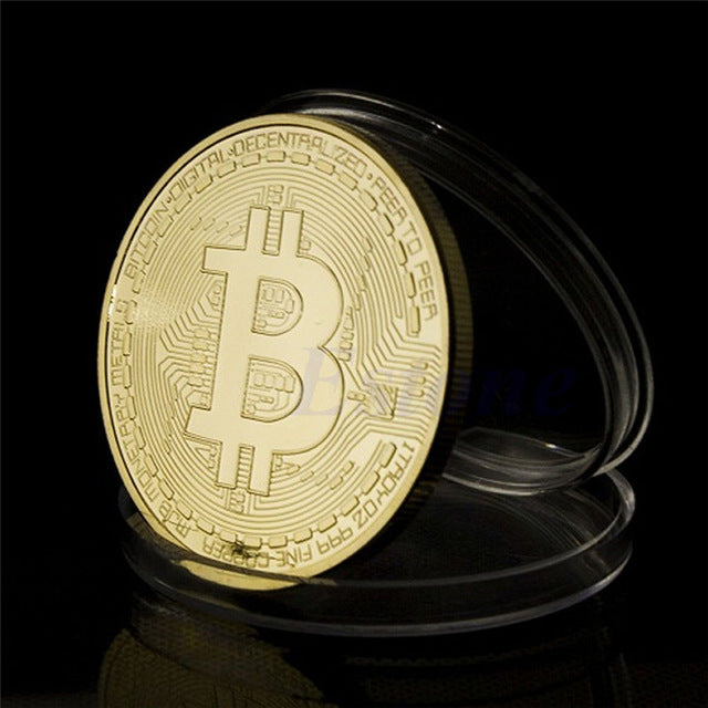 New 1 x Gold Plated Bitcoin Coin Collectible BTC Coin Art Collection Gift Physical