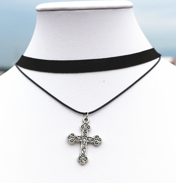 New 20 Styles Vintage Punk Multiple layers Peace Cross Leaf Dolphin Clover Leather Choker Necklaces For Women Jewelry Collares