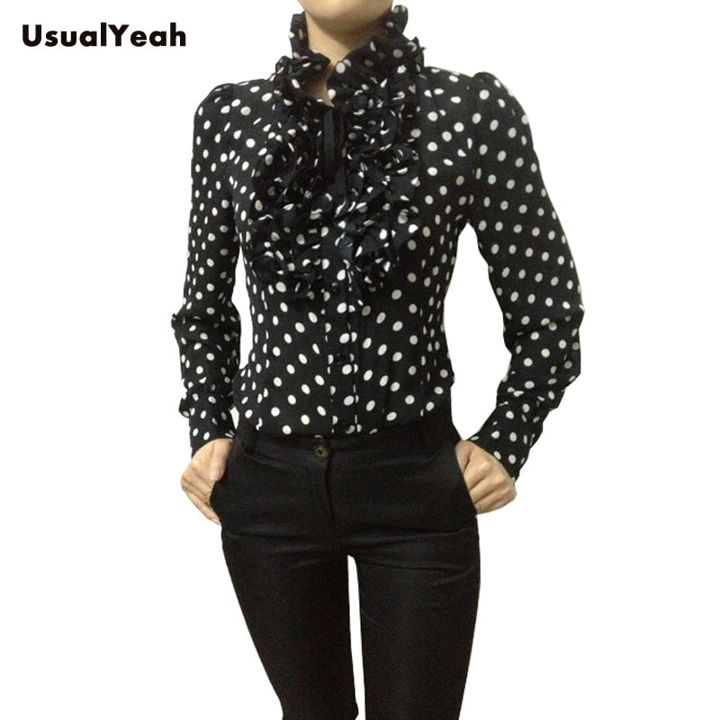 New 2017 Hot Fashion Korea Style Vintage Chiffon Polka Dots Women's Body Blouse Tops Shirt Stand Collar Ruffles S M L XL SY0185