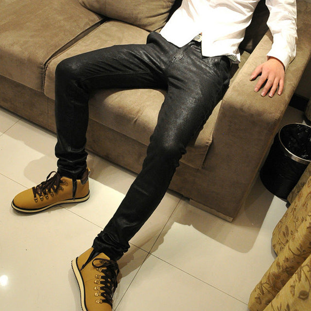 New 2017 Mens Leather Pants Slim Fit  Faux Leather Skinny Sweatpants Bright Leather Jeans Black Free Shipping N82